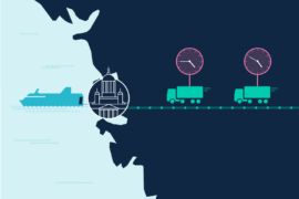GoSwift just-in-time service illustration of trucks timing arrival to a ship