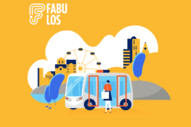 FABULOS project visualization with a person stepping into a robobus with a ferriswheel in the background