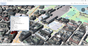 Screenshot of a 3D model of Helsinki