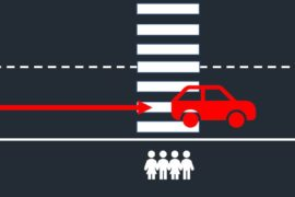 Dangerous driving behaviour at pedestrian crossing